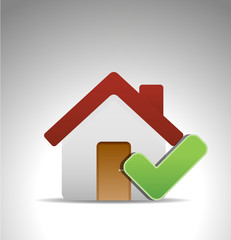 home icon with green mark