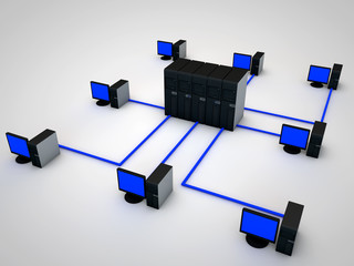 network connected to several Servers