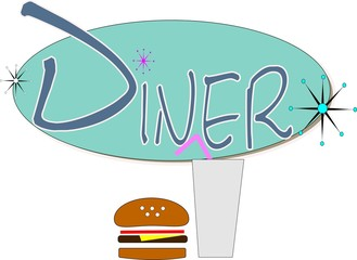 diner sign with drink and burger