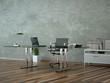 Bürodesign - Schreibtisch vor grauer Wand