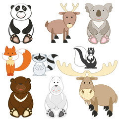 Cute cartoon animals set on white background