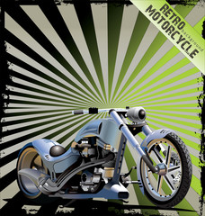 Realistic Vector custom Motorcycle - retro background
