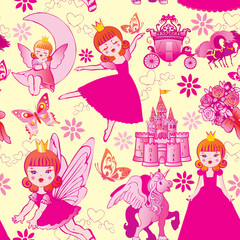 Seamless princess pattern. Vector art-illustration.