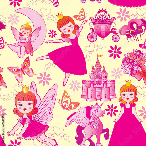 Foto op Aluminium Kasteel Seamless princess pattern. Vector art-illustration.
