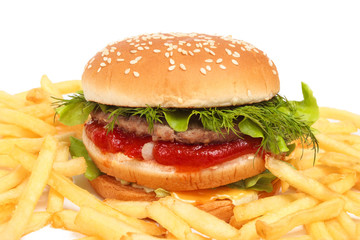 Fast food isolated on white