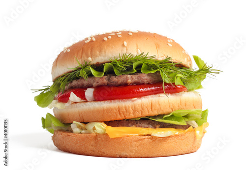 Big burger isolated on white