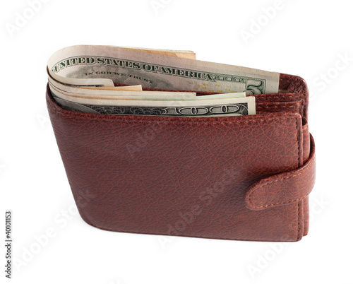 Wallet with dollars isolated on white