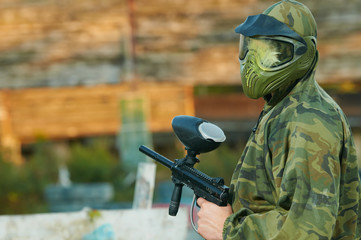 Man paintball player