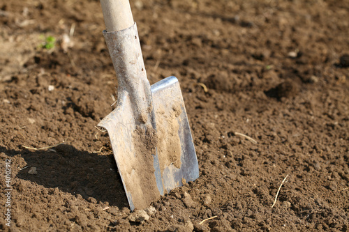 Shovel on field