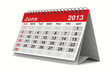 2013 year calendar. June. Isolated 3D image