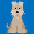 Fuzzy and Furry White and Tan Dog Vector