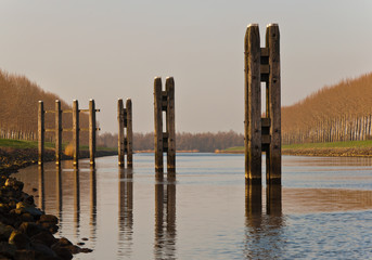 Mooring posts in the low afternoon sun