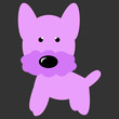 Small Pink and Purple Dog Vector -  Terrier or Schnauzer