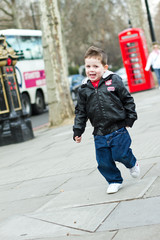 Young boy enjoying the sights in London Town