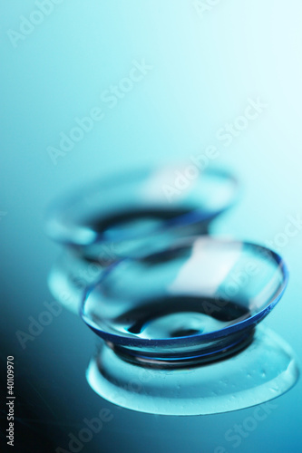 contact lens on blue background