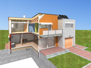 Detailed rendering of a modern house in the section