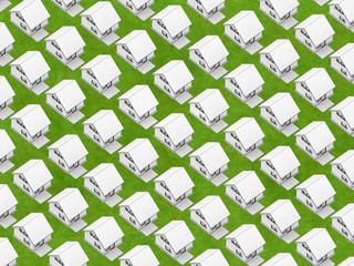 White houses in orthographic view on the grass texture.
