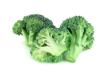 Broccoli pices on white
