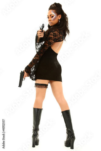 Sexy Black Female Aiming Handgun At Camera