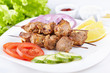 Pork shashlik with fresh vegetables