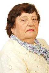 Closeup of elderly woman face