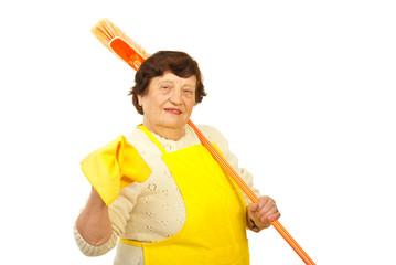 Happy elderly housewife