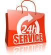 Einkaufstasche 24-Sunden-Service, rot