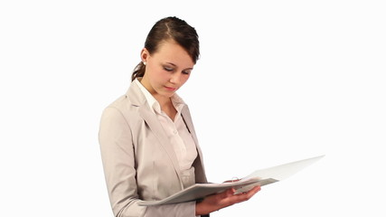 Young businesswoman reading documents and smile,