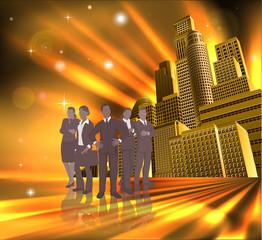 Professional team city illustration