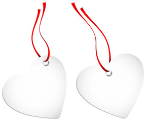 2 Hangtags White Heart Red Bow