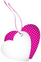 Hangtag 2 Hearts Dots Pink Bow