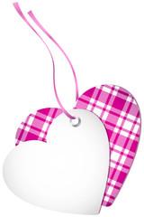 Hangtag 2 Hearts Check Pink Bow