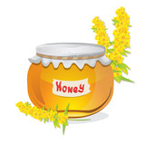 Glass pot full of honey