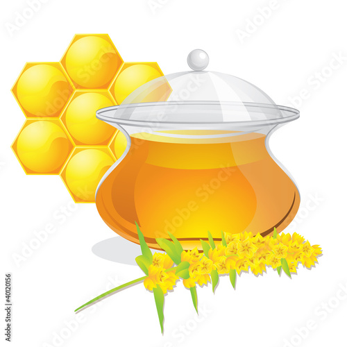 Full pot of honey and flowers