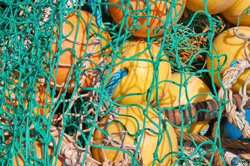 Closeup of fishing nets and floats in a Dutch fishing port
