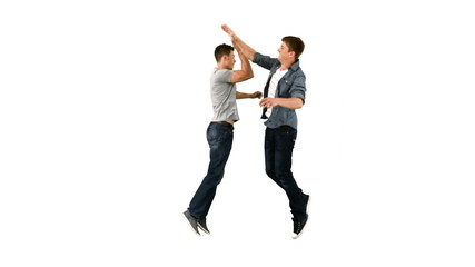 Two guys high-fiving one another in slow motion
