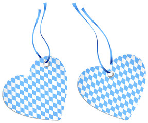 2 Hangtags Heart Octoberfest Light Blue