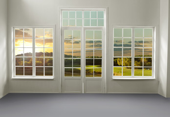 Room with lake view (includes clipping path)