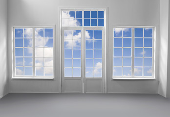Windows and the buffy clouds with clipping path