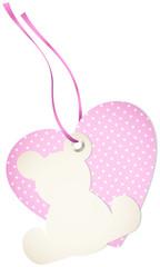 Hangtag Teddy & Heart Dots Pink Bow