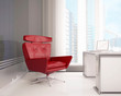 Red armchair at office