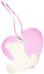 Hangtag Teddy & Heart Pink Bow