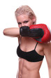 Female boxer in fighting stance