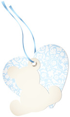 Hangtag Teddy & Heart Floral Blue Bow