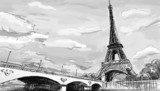 Parisian streets -Eiffel Tower illustration