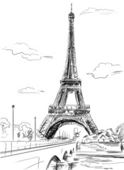 Parisian streets -Eiffel Tower illustration