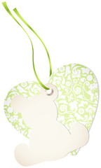 Hangtag Teddy & Heart Floral Green Bow