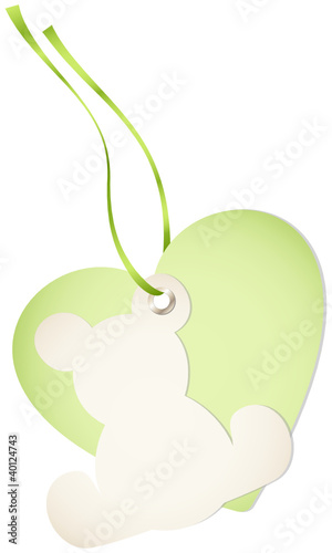 Hangtag Teddy & Heart Green Bow