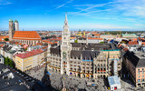 The aerial view of Munich city center from the tower of the Pete