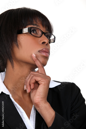 Pensive black businesswoman